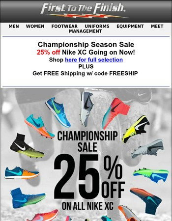 25% off Nike XC! AND Free Shipping!