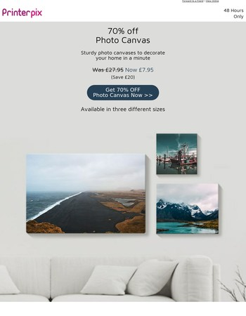 70% Off Photo Canvas - 3 sizes - 48 Hours Only