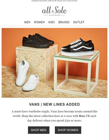 New lines added: Vans