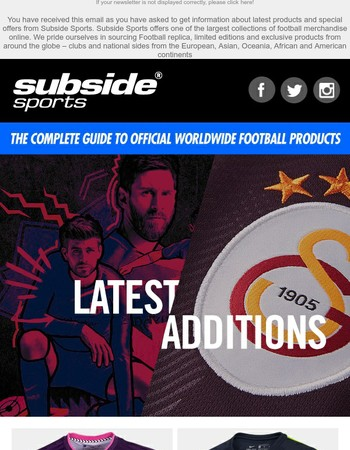 Subside Sports - Latest Additions - Inter, PSV & Galatasaray 3rd shirts   Barca official own name personalisation   AS Roma Totti   Special offers
