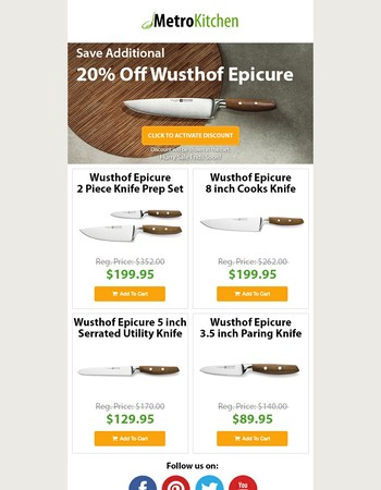 Hurry - Save Additional 20% Off Wusthof Epicure Knives!
