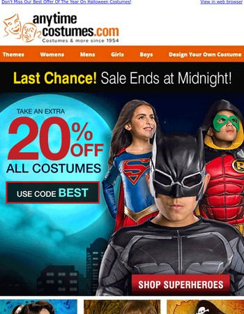 FINAL CHANCE: 20% OFF Halloween Costumes Expires at Midnight!