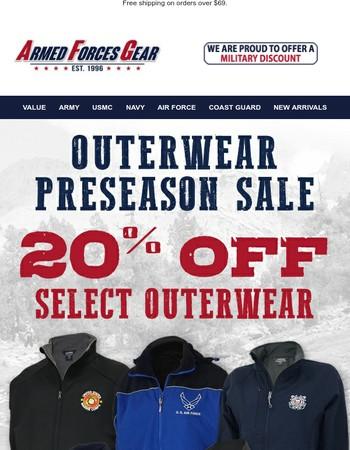 1 Day Left - 20% Off Preseason Outerwear Sale