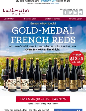Ends tonight: rich French reds JUST $12.49 a bottle