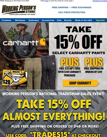 Take 15% Off Select Carhartt Pants + Get A FREE $20 Gift Code + FREE Shipping!