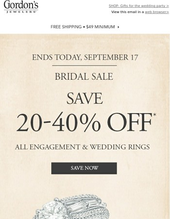 Run Down Our Aisles: The Bridal Sale Ends TODAY!