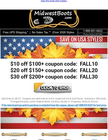 Fall Savings of $10 - $30 on USA styles + Free T-Shirt with USA Thorogoods