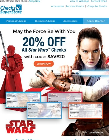 Limited Time Only! 20% off Star Wars Checks