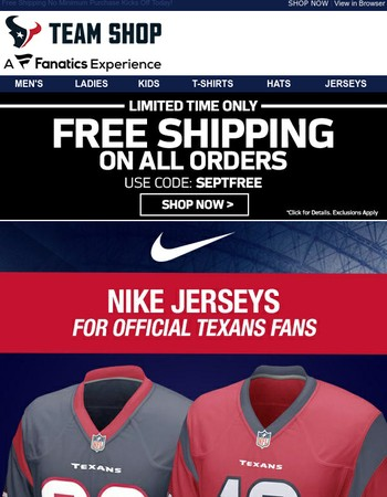 Texans Nike Jerseys, Shipped FREE, Limited Time!