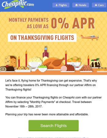 Monthly Payments on Flights for Thanksgiving