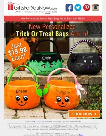 $19.98 Trick or Treat Bags   New For The Season
