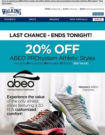 20% Off ABEO Athletic Styles Ends Tonight - 3D3 Orthotics in Every Pair!