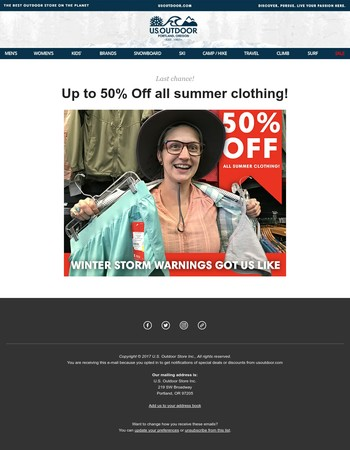 Last Chance for up to 50% Off Summer Clothing!