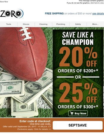 Our Game Plan: Up to 25% Off