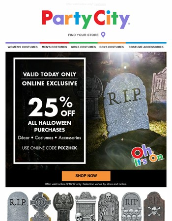 25% Off ALL HALLOWEEN Items Today Only!