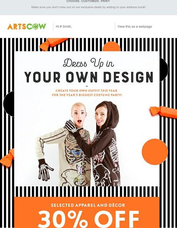 Design your own Halloween Costume at 30% Off w/ Free Shipping!