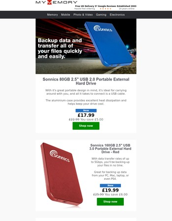 External Hard Drives From £17.99
