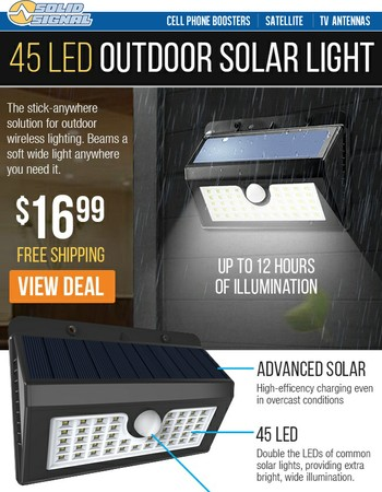 45 LED Stick-Anywhere Solar Light - 16.99 Shipped!