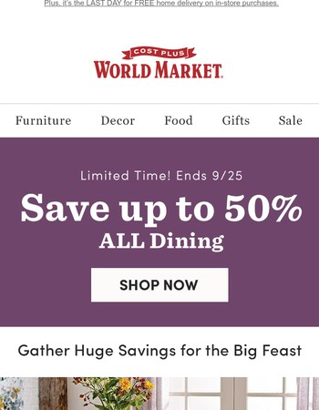 It's still on. Up to 50% off ALL Dining.