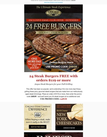 One More Day to get 24 Free Burgers | Offer Extended