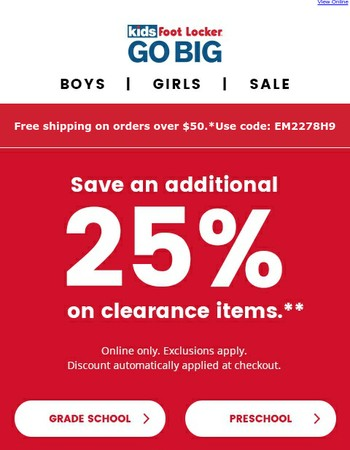 Don't miss your chance! Save an extra 25% on select clearance