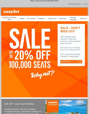 Mary, SALE ENDS MIDNIGHT TOMORROW -  up to 20% off 100,000 seats - don't miss out