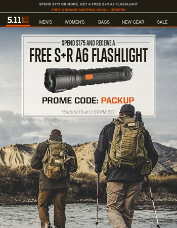 Bags and packs for all your adventures   Spend $175+ and get a free S+R A6 Flashlight