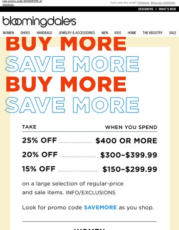 Online Only! Buy More, Save More