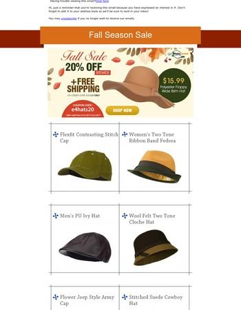20% OFF! Fall Season Site Wide Sale