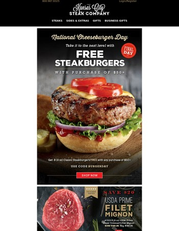 Enjoy FREE Steakburgers for National Cheeseburger Day