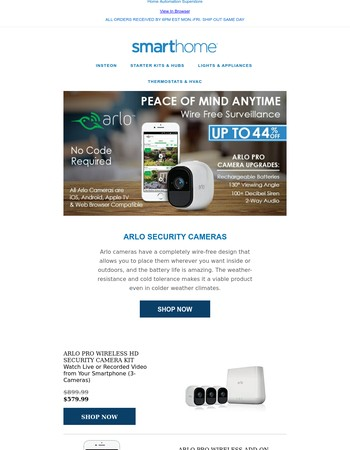 Arlo 100% Wireless Cameras - Up to 40% Off