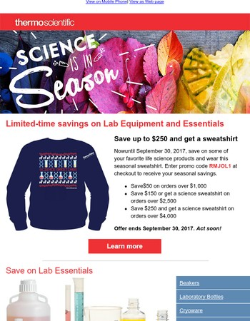 Science is in season. Fall for savings on laboratory products!