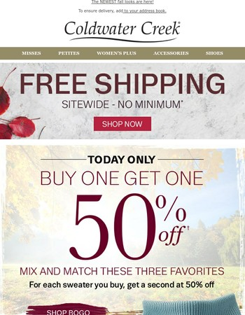 Today ONLY BOGO 50% off Ribbed Sweaters + Free Shipping!