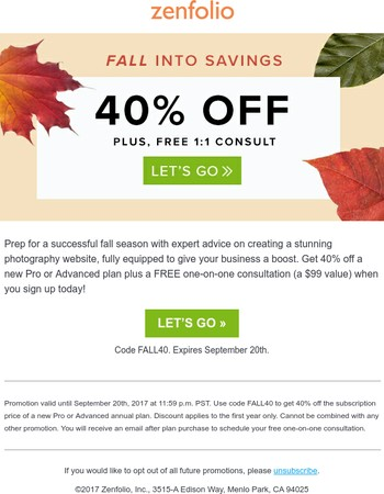 40% Off + Free Consult with Zenfolio Expert