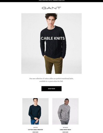 Men's Cable Knits | New In, Updated Classics
