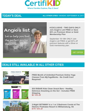 2 Days Only! Join Angie's List FREE or Save 60% on Membership