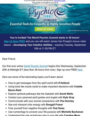 FREE World Psychic Summit starts in 36 hours!