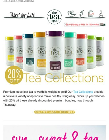 $500 Giveaway + 20% OFF Tea Tins!