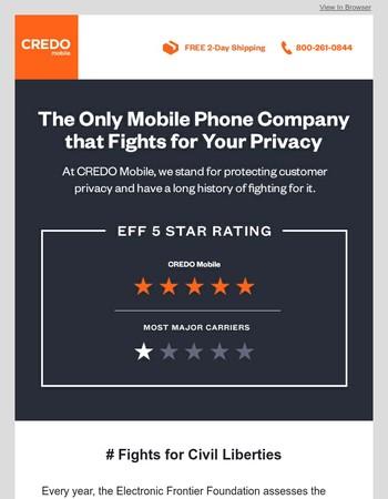 EFF Rates CREDO Mobile 5 Stars