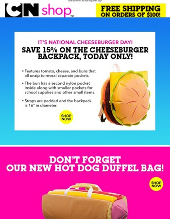 It's National Cheeseburger Day, save on our Cheeseburger Backpack!