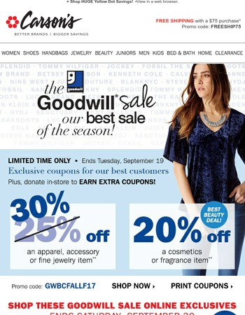 Online Only Goodwill Offers ➞