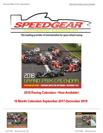 2018 Racing Calendars  | Just Arrived  | Start Using Today!