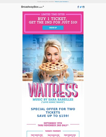 First Look at the New WAITRESS Music Video (and Get a Special Offer).