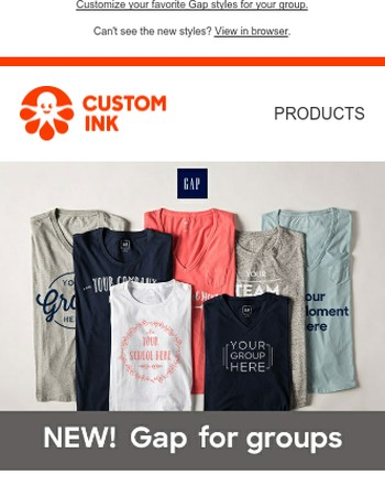 NEW Gap tees for your group - exclusively at Custom Ink