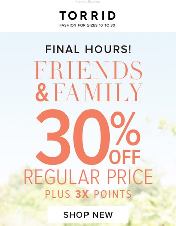 Hours left of Friends & Family, Gorgeous!