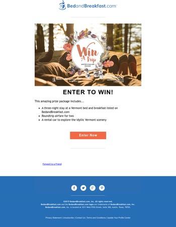Win a Vermont Getaway!