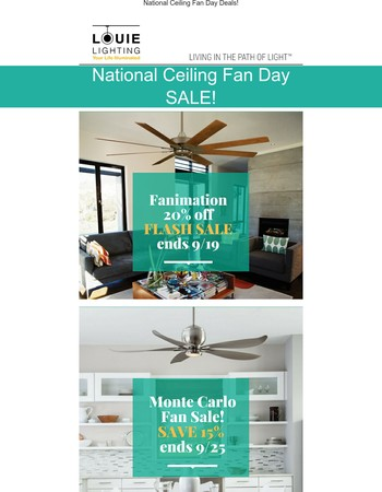 National Ceiling Fan Day Deals! Shop Now!