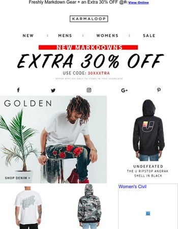 Save an Extra 30% OFF New Markdowns!