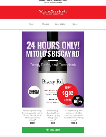 Save 60% On Frank Mitolo's Biscay Road Shiraz!