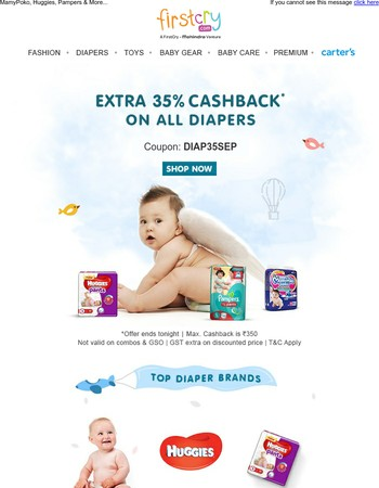 Extra 35% Cashback on All Diapers | Valid for Today